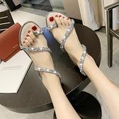 百搭水鑚涼鞋女 新品仙女風外穿平底 學生羅馬鞋潮風尚3C