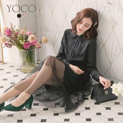 東京著衣【YOCO】氣質優雅小圓領剪接壓褶紗裙洋裝-S.M.L(172673)