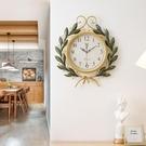 藝術品美式復古創意時尚鐘表時鐘掛鐘現代簡約家用客廳個性石英鐘 果果輕時尚