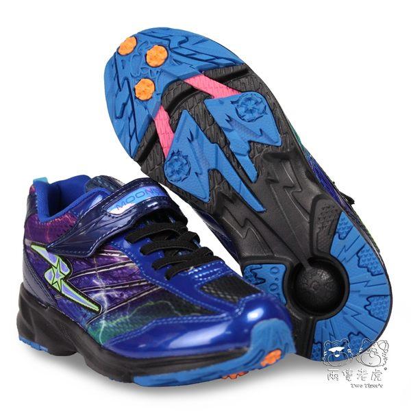日本月星 MoonStar SS競速運動鞋 藍色 魔鬼氈 機能童鞋 中大童 NO.R3608