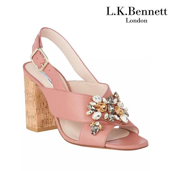 【L.K. BENNETT】凱特王妃摯愛品牌 YNES真皮水鑽粗跟高跟涼鞋-玫瑰紅 (原廠公司貨)