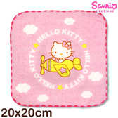 【esoxshop】Sanrio 凱蒂貓窯花小手巾-與黃色小飛機│MIT台灣製造《Hello kitty/方巾/手帕/兒童毛巾》