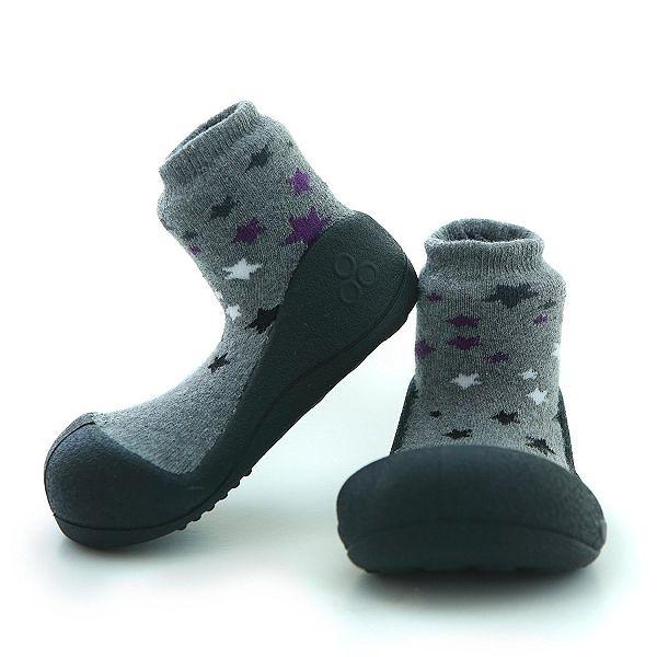 韓國 Attipas 快樂腳襪型學步鞋-暗夜星空灰
