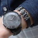 RELAX TIME Classic 經典系列 立體波紋簡約俐落男錶 真皮手錶 防水手錶 IP黑X灰 RT-88-7M