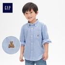 Gap男嬰幼童 牛津紡領尖紐扣長袖襯衫 911790-天藍色