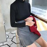 春裝女裝韓版學院風修身百搭高腰百褶裙顯瘦A字裙半身裙學生短裙 芥末原創