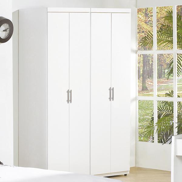【森可家居】亞斯4尺白色組合衣櫃 7JF074-A 衣櫥MIT台灣製造