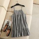 洋裝【S51】FEELNET中大尺碼女裝夏裝純棉寬鬆A字版格子吊帶洋裝 XL~3XL