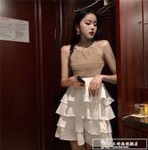 顯瘦針織吊帶背心女夏季2018新款 高腰蛋糕半身裙時尚兩件套套裝『韓女王』