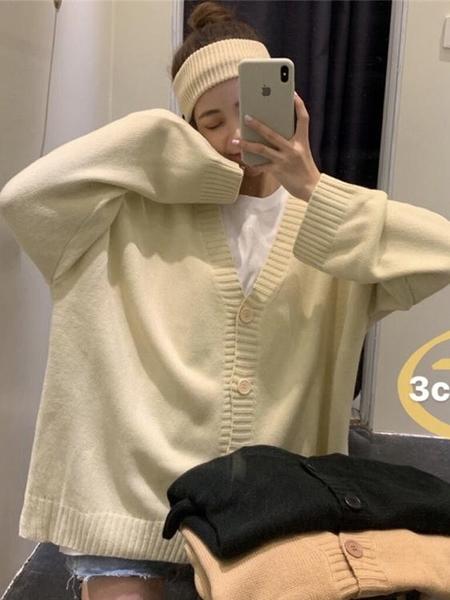 春秋季2020韓版V領針織開衫學生寬鬆外穿百搭毛衣慵懶風外套女裝