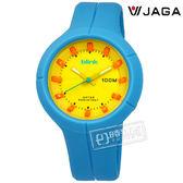 JAGA 捷卡 / AQ1008-E / 立體刻度 指針夜光 防水100M 橡膠手錶 黃x藍 45mm