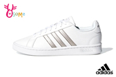 adidas GRAND COURT 板鞋 成人女款 經典三線造型 休閒鞋 休閒運動鞋 R9318#白銀◆OSOME奧森鞋業