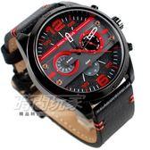 MINI FOCUS 三眼多功能造型 粗曠型男 大圓錶 設計款 男錶 學生錶 防水手錶 黑x紅 MF0068紅黑