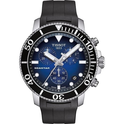 TISSOT Seastar 海星300米潛水石英錶-橡膠款-T1204171704100