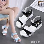 2020春夏季新品拼色厚底女涼鞋低跟休閒時尚百搭學生涼鞋女防滑潮『潮流世家』