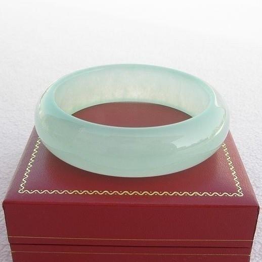 【歡喜心珠寶】【天然冰種水磨子玉手鐲】手環19.3圍,商品為仿翡翠緬甸硬玉「D貨」優化處理