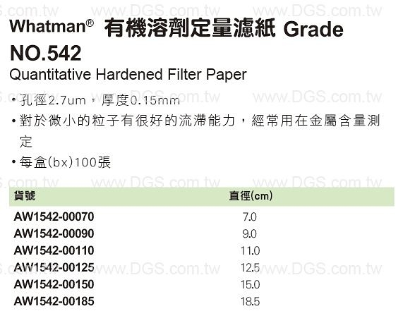 《Whatman?》有機溶劑定量濾紙 Grade NO.542 Quantitative Hardened Filter Paper