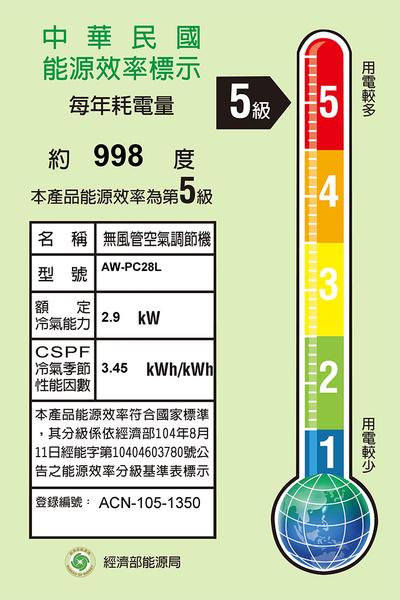 【SAMPO聲寶】定頻窗型冷氣 AW-PC28R/AW-PC28L (右吹/左吹)