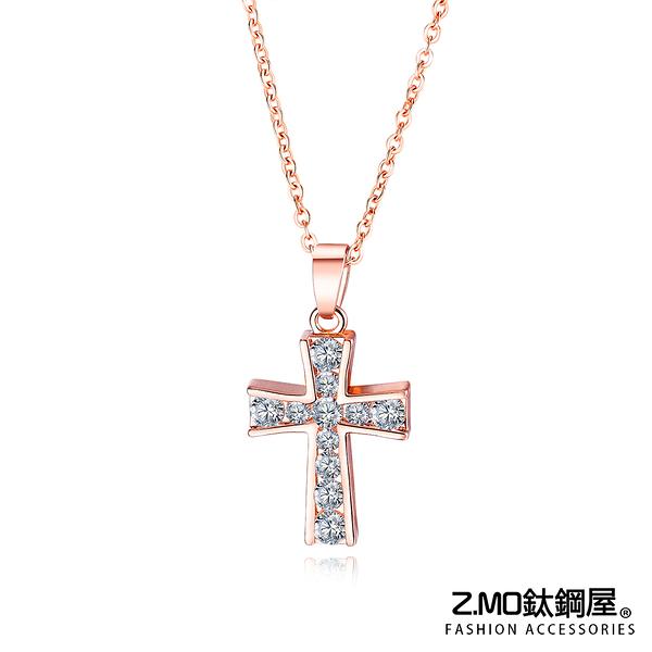 Z.MO鈦鋼屋 合金項鍊 日韓新款項鍊 鑲鑽十字架項鍊 短款鎖骨項鍊 甜美項鍊 單條價【AKA451】