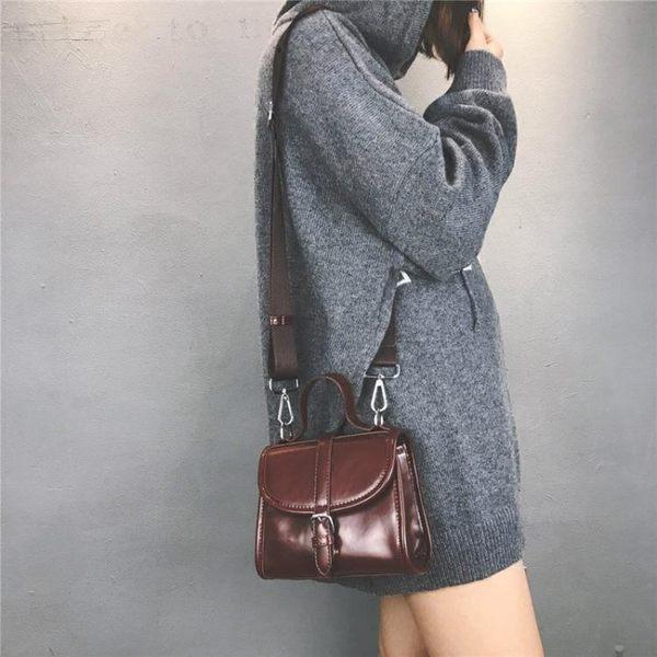 韓版時尚百搭簡約休閒復古側背包斜挎手提包女包