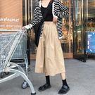 韓版學院風工裝半身裙百褶裙大擺裙卡其中長款裙子  蘑菇街小屋