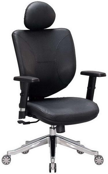 HP366-08 辦公椅TS-022-1/黑皮/頭枕/鋁腳