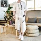 夏季棉麻唐裝兩件套男士印花大碼t恤寬松透氣休閑短袖運動 布衣潮人
