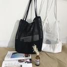韓版網格手提包購物袋網眼鏤空沙灘包帆布單肩女包包 夢露