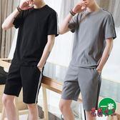 運動服兩件套 男士休閒套裝清涼衣服夏日短褲九分褲 QX14688【花貓女王】