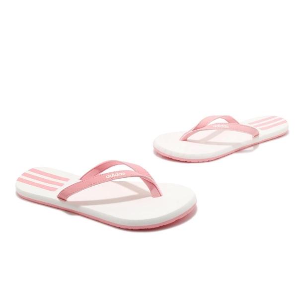adidas 涼拖鞋 Eezay Flip Flop 白 粉紅 女鞋 人字拖 夾腳拖 涼鞋【ACS】 EG2035