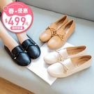 平底豆豆鞋.MIT日系簡約樂福蝴蝶結金扣娃娃鞋.白鳥麗子