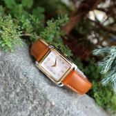 TIMEX 天美時 / TXTW2R89600 / 美國品牌 經典復刻 日常生活防水 真皮手錶 銀白x金框x深褐 25mm