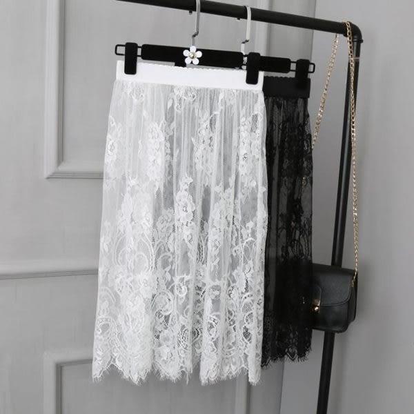 現貨 襯裙 網紗內搭高腰大碼半身蕾絲裙 602-036