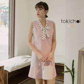 東京著衣-氣質秘書款蝴蝶結領兩件式洋裝-S.M(180884)