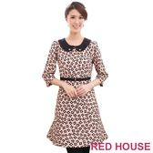 【RED HOUSE-蕾赫斯】七分袖滿版花朵圓領腰帶洋裝(氣質粉)