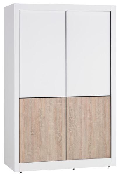【森可家居】小北歐4尺推門衣櫥 7JX22-2 衣櫃 左右拉門 雙色 北歐鄉村風 MIT