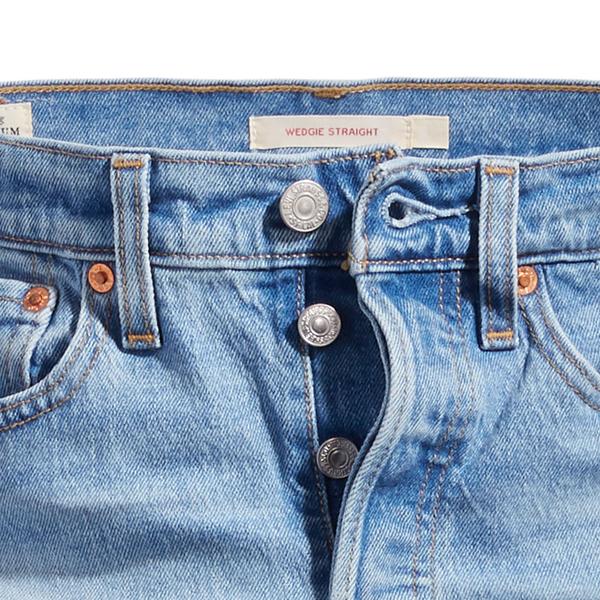Levis 女款 Wedgie 高腰合身排釦直筒牛仔褲 / 微磨破細節 / 及踝款 / 彈性布料