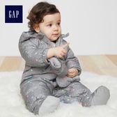 Gap女嬰兒 長袖連身羽絨衣套裝 寶寶保暖加厚包屁衣 348775-亮麻灰色