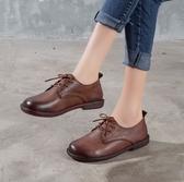 手工真皮女鞋35~40 2020百搭頭層牛皮低跟紳士鞋鞋~2色