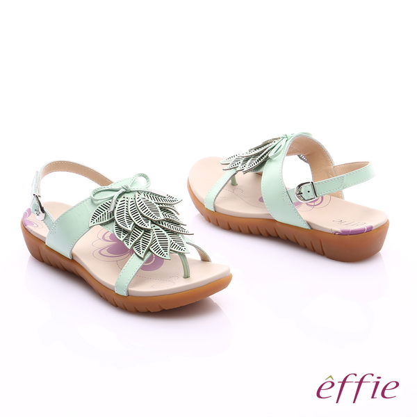 effie 輕量樂活 真皮雷射雕花葉片寬楦涼鞋  淺綠