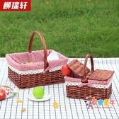 野餐籃 柳編野餐籃手提籃購物籃提籃花籃禮品包裝籃采摘籃子T 2色