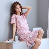 睡裙女夏季韓版短袖全棉可愛條紋睡衣夏天純棉寬鬆連身裙家居服夏 曼莎時尚
