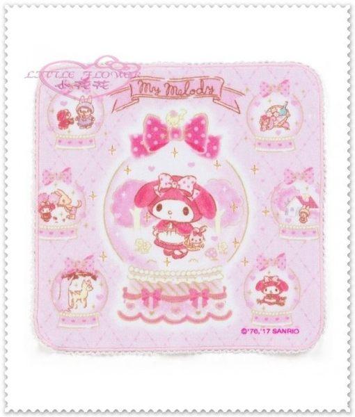 小花花日本精品♥ Hello Kitty美樂蒂粉色甜美系列 小紅帽 菱形 夢幻 蝴蝶結水晶球 純棉方巾 33170008