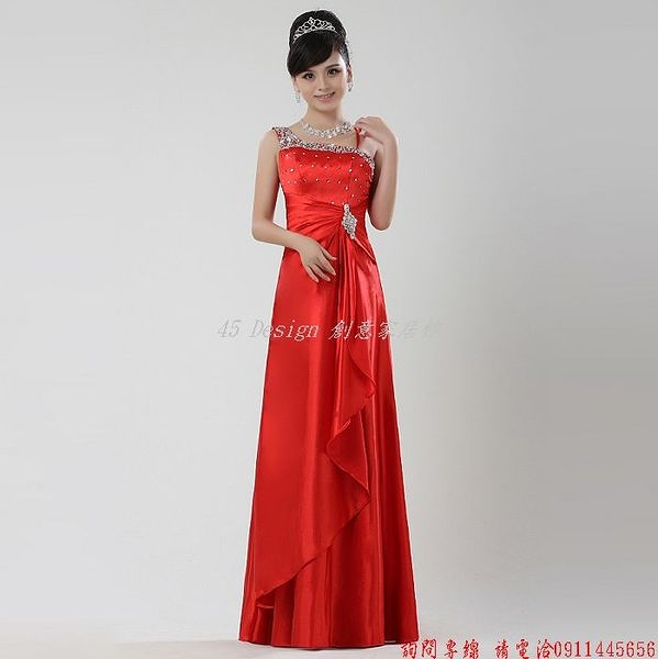 (45 Design) 定做  7天到貨   新娘結婚紅色禮服單肩長款敬酒服晚禮服