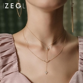 限定款鎖骨鍊 新品免運雙層項鍊 女鎖骨鍊頸鍊多層正韓衣服配飾脖子飾品頸鍊