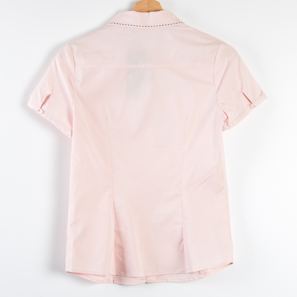 【MASTINA】明線尖領短袖襯衫-粉 秋冬嚴選