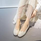粗跟單鞋女春款百搭仙女風中跟淑女方頭豆豆鞋兩穿軟底奶奶鞋 雙12全館免運
