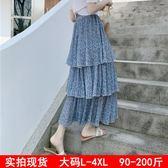 促銷不退換大碼女裝半身裙中長款胖mm200斤雪紡碎花三層蛋糕裙FZ5F006朵維思