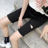 黑色直筒短褲女夏高腰港味牛仔中褲外穿緊身破洞騎行褲五分褲