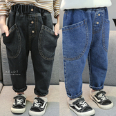 寬鬆大口袋加絨保暖牛仔褲 褲子 童裝 長褲